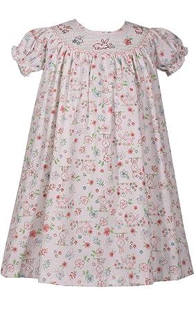 190784b1a9d8 Amazon.com: Bonnie Baby Smocked Easter Bunny Print Dress: Clothing