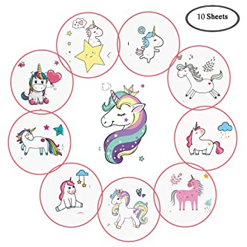 b90a845c7 Ooopsi Unicorn Temporary Tattoos for Kids - More Than 180 Tattoos (Pack of  10 Sheets