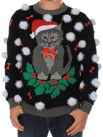 Cat Christmas Sweater.Tipsy Elves Men S Ugly Christmas Sweater Black Cat Sweater With Bells