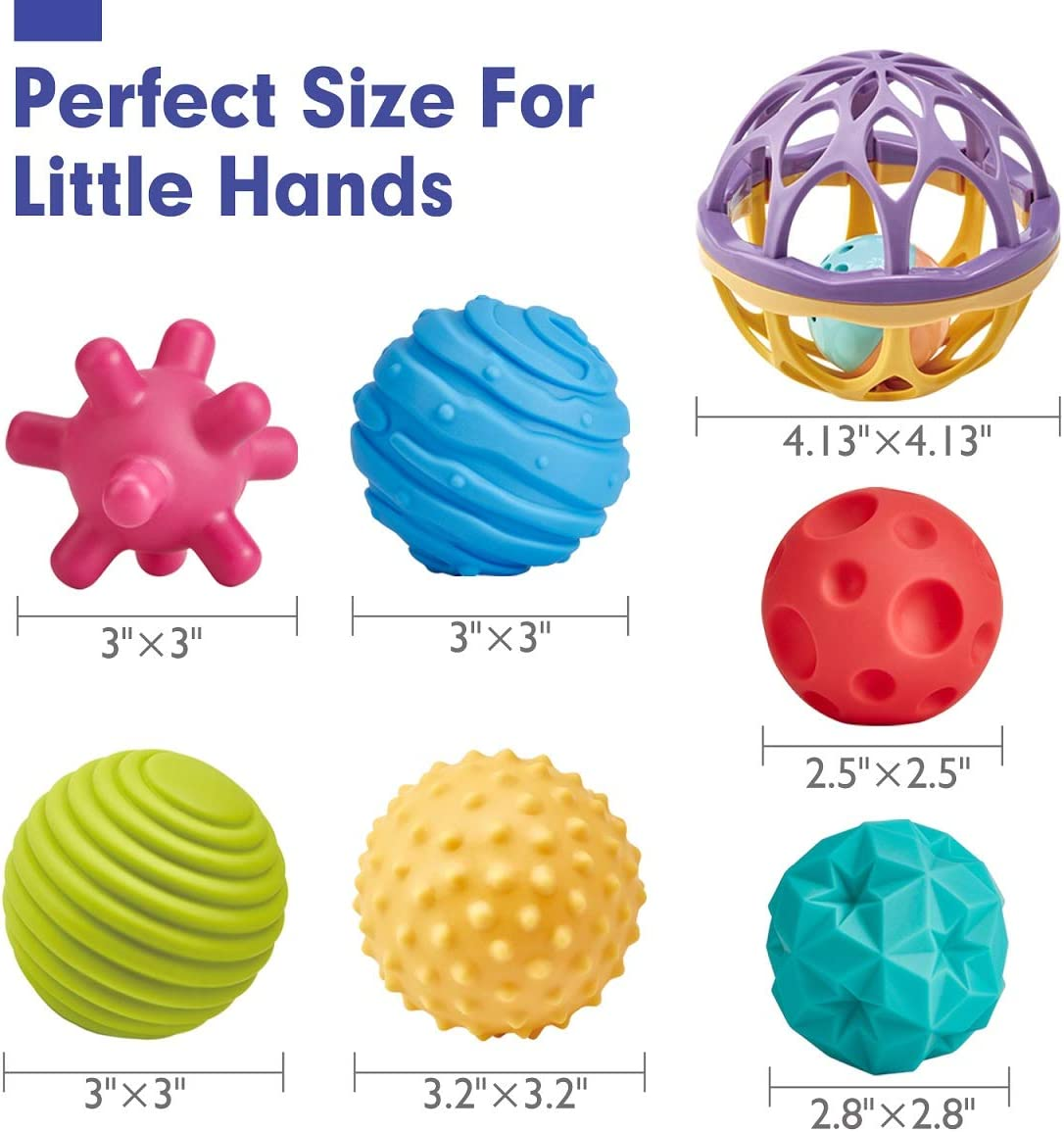 Hand Catching Balls Rattle Sensory Toys for Babies Infant Toy Sensory Developmental Newborn Baby Toys 6 to 12 Months CubicFun Baby Toys 3-6 Months Sensory Balls Multiple Textured Multicolor 7 Pieces