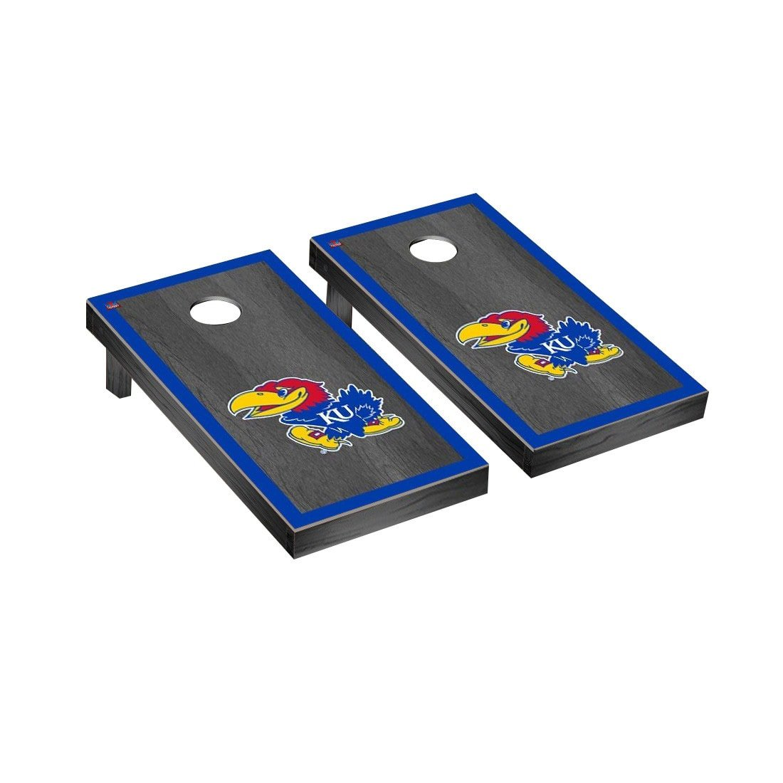 Victory Tailgate Kansas KU Jayhawks Regulation Cornhole Game Set Onyx Stained Border Version
