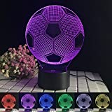 Soccer 3D Desk Lamp, 3D Illusion 7 Colors Touch Football Desk Table Lamp for Kids Children Sports Fans World Cup 2018