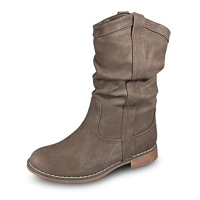 8b147a17cab7 Damen Stiefel Schlupfstiefel gefüttert Stiefeletten Boots BL80 (37, Khaki)