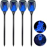 EOYIZW Solar Tiki Torches with Flickering Flame, 4 Pack Premium 99 LEDs Solar Flame Torch- IP65 Waterproof Solar Flame Lights