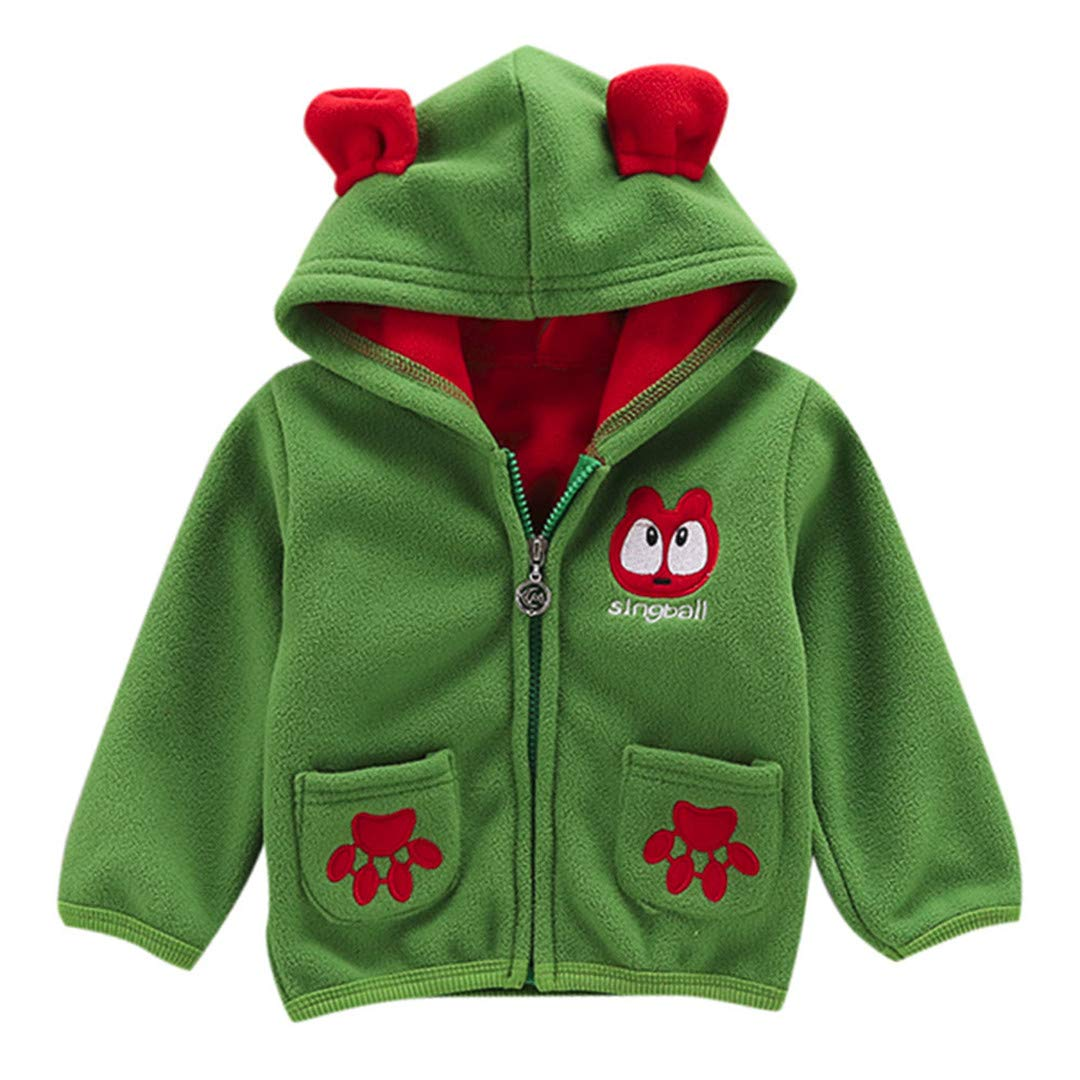 Pollyhb Baby Coat Kids Outerwear Boy Girl Blouse Fashion Long Sleeve Pocket Cartoon Zipper Hooded Toddler Tops Jacket