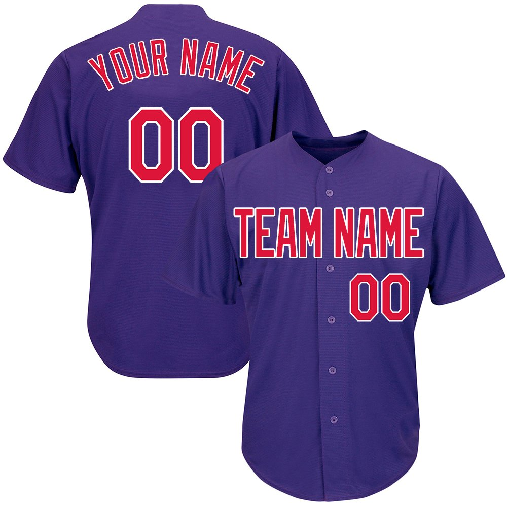 Custom Women's Purple Baseball Softball Jersey with Embroidered Your Name and Numbers,Red-White Size 2XL by DEHUI