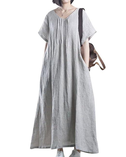 Mujer Vestido Maxi Elegante Fiesta Lino Mangas Cortas Oficina Vestido Gris: Amazon.es: Ropa y accesorios