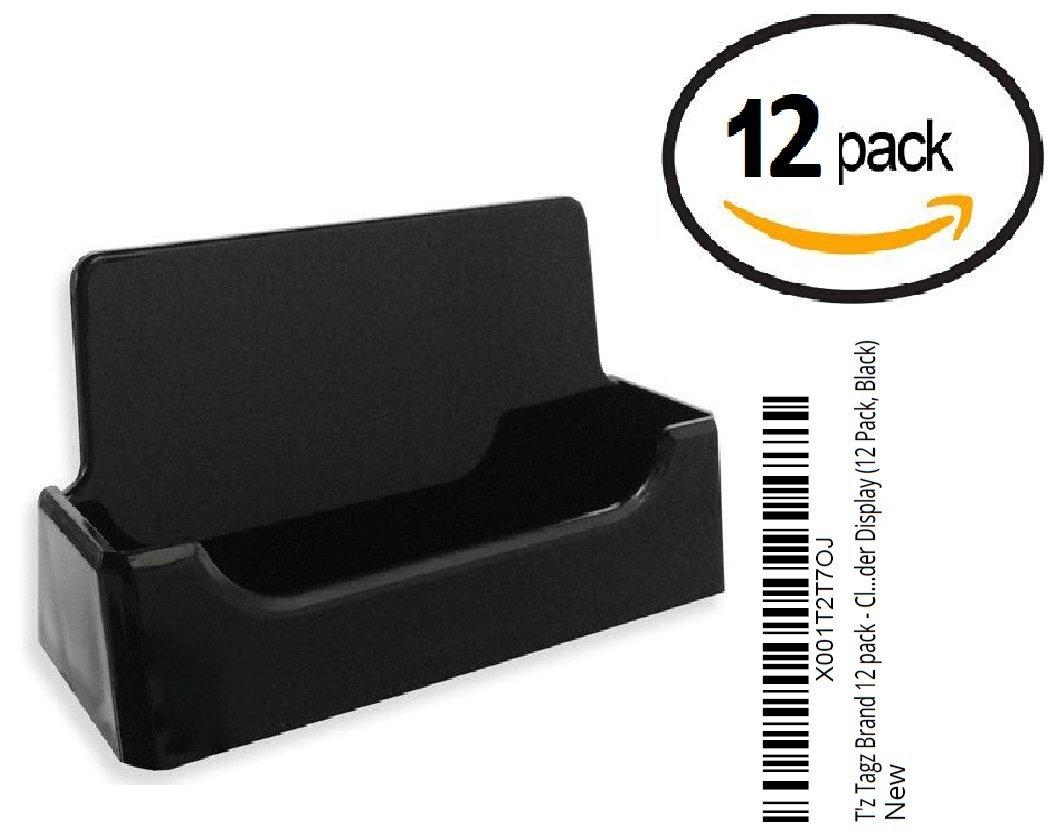 T'z Tagz Brand 12 Pack - Black Plastic Business Card Holder Display (12 Pack, Black)