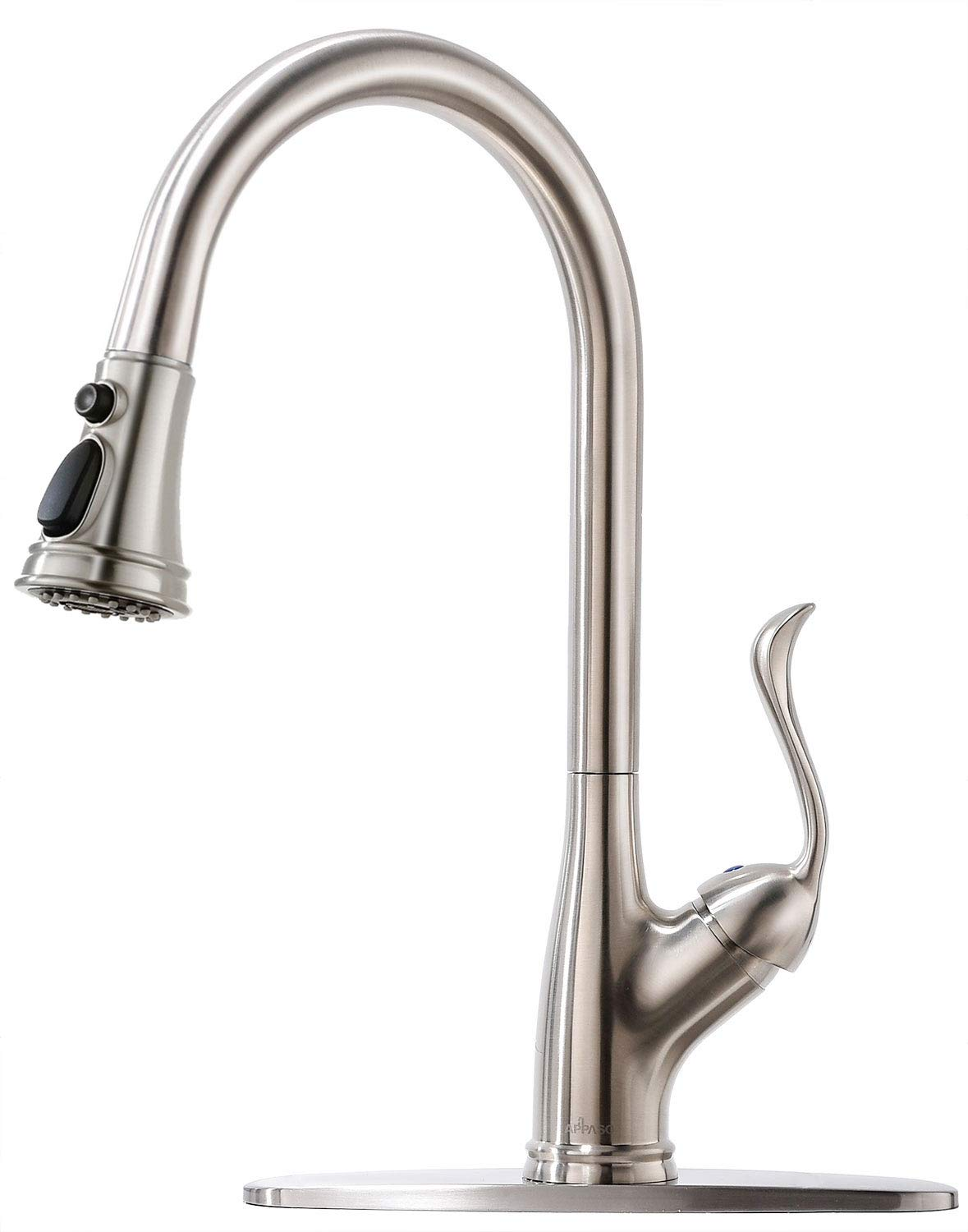 APPASO Single Handle Pull Down Kitchen Faucet with Sprayer, Stainless Steel Brushed Nickel High Arc Single Hole Pull Out Spray Head Kitchen Sink Faucet with Escutcheon by APPASO (Image #1)