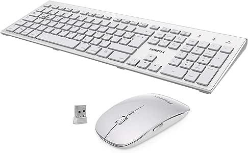 FENIFOX Teclado y Raton inalambrico, diseño ergonómico 2,4 G Teclado inalámbrico y ratón Combinado USB para PC de Escritorio, Mac OS Windows Linux: Amazon.es: Electrónica