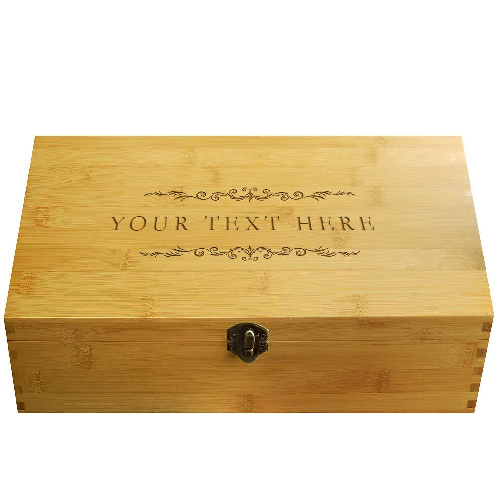 Cookbook People Multikeep Adjustable Tea Box 128 Tea Bag Storage Organizer Bamboo Latching Lid (Custom Filigree)