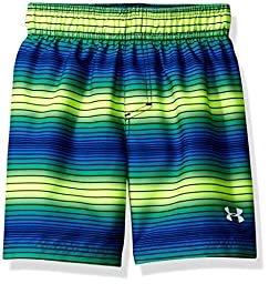 Under Armour Little Boys\' Pulse Stripe Volley Swim Short, Fuel Green, 7