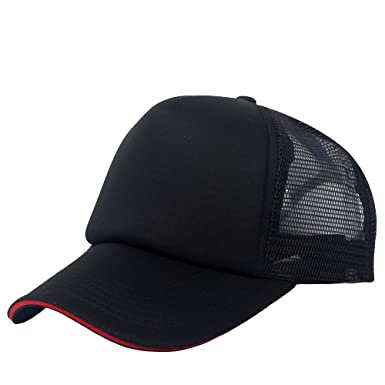8240e9aa5a7 oriental spring Plain Sandwich Baseball Cap Mesh Trucker Cap For Unisex  Adjustable Blank Hat (Black