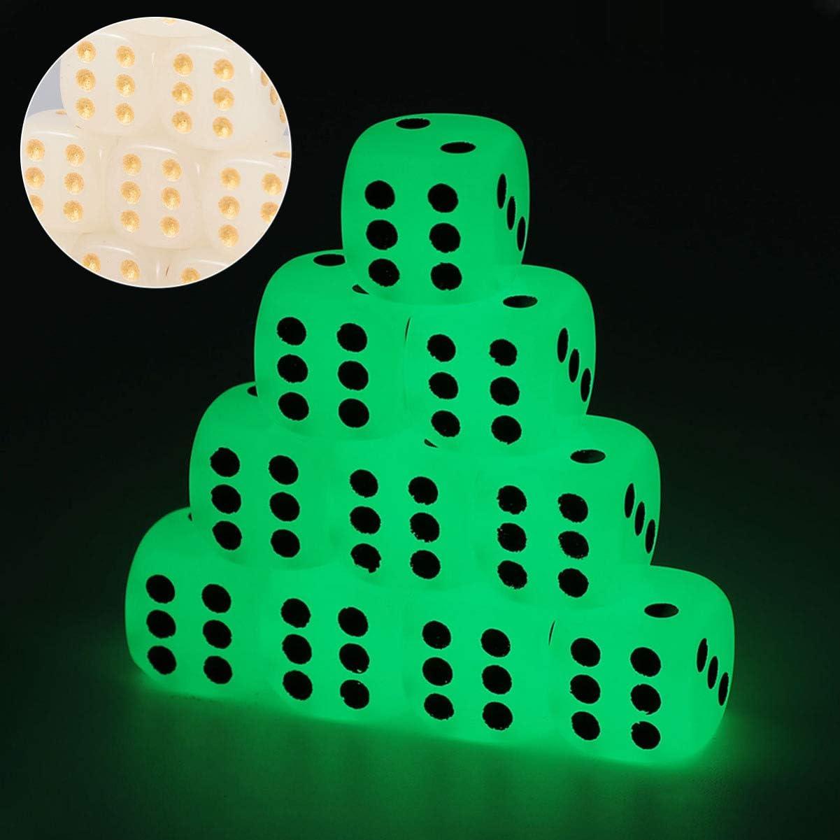TOYANDONA Juego de Dados de 6 Piezas de 10 Piezas Juego de Dados de Seis Caras Que Brillan en La Oscuridad Mueren Dados para MTG RPG Tenzi Farkle Yahtzee Bunco Juego de Mesa de Matem/áticas