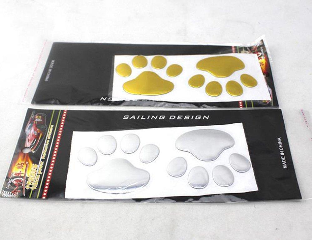 MINGZE 4 piezas 3D Cromo perro pata huella etiqueta engomada del coche Plata decoraci/ón auto de la etiqueta del emblem calcoman/ías de coches