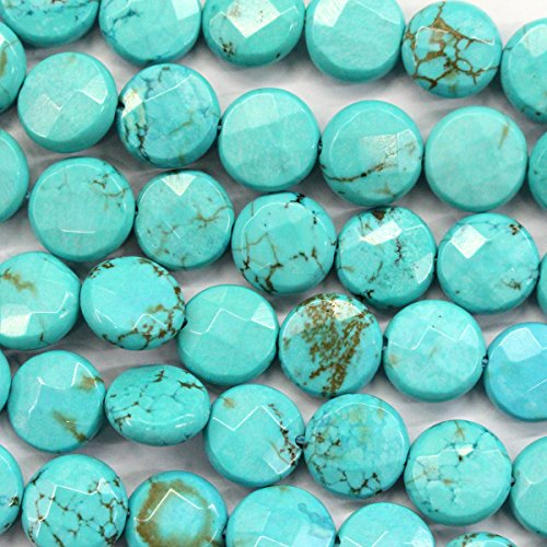 Faceted Natural Blue Turquoise Gemstones Loose Beads Findings Jewerlry Making (coin (Turquoise Coin Beads)
