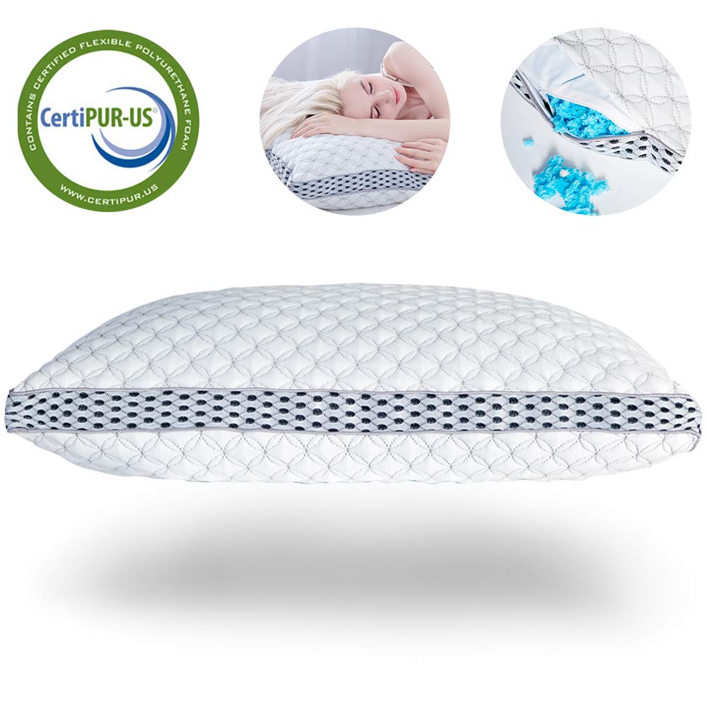 LIANLAM Memory Foam Pillow for Sleeping Shredded Bed Bamboo Cooling Pillow with Adjustable Loft 4D Design Hypoallergenic Washable Removable Derived Rayon Zip Cove (Standard) sleep pillows Sleep pillows review – buying guide and review for sleep pillows 61sRrsJKbfL