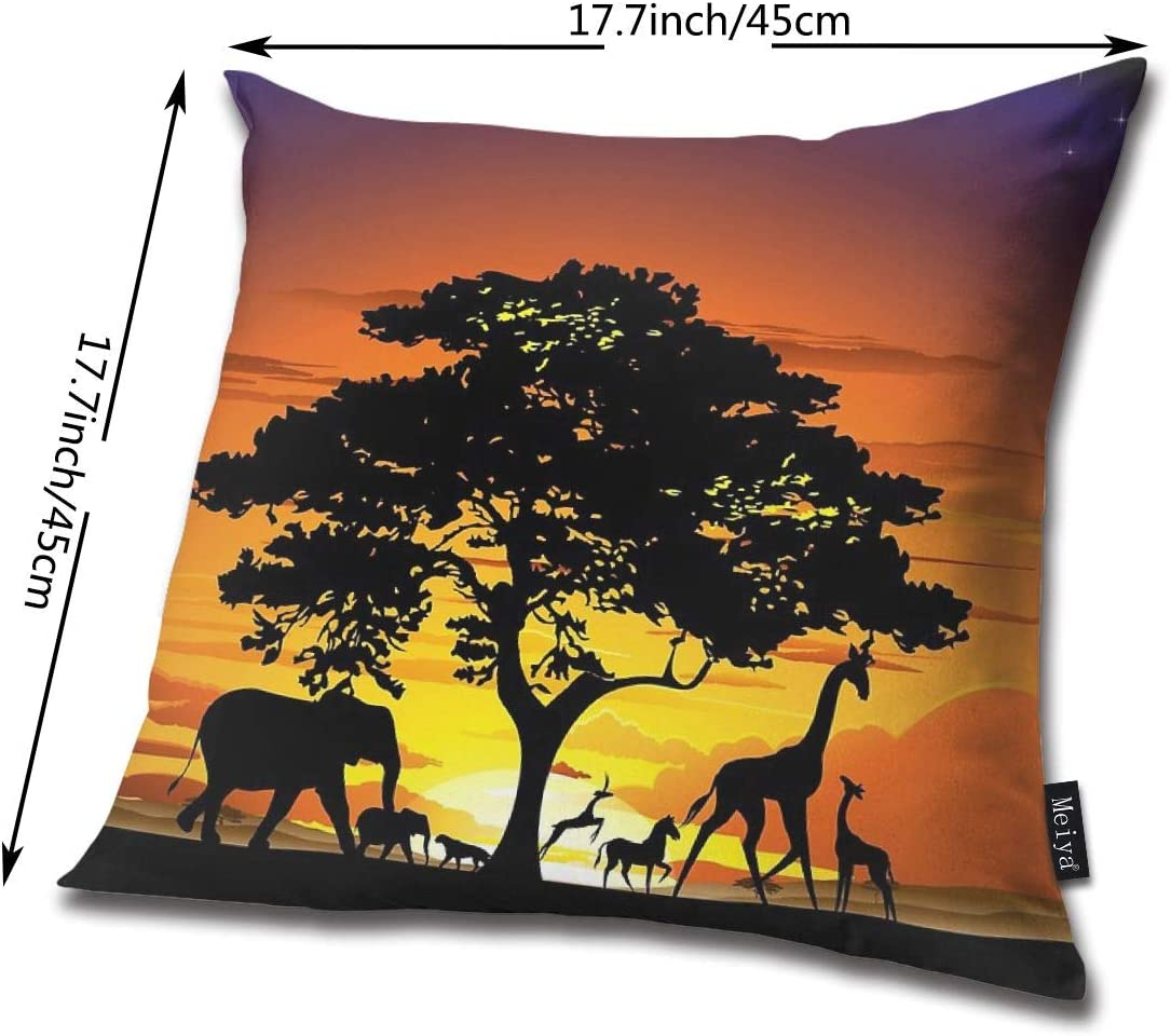 BLUETOP Wild Animals On African Savanna Sunset Pillow Cover 18 x 18 Inch Winter Holiday Farmhouse cotton Cushion Case Decoration for Sofa Couch