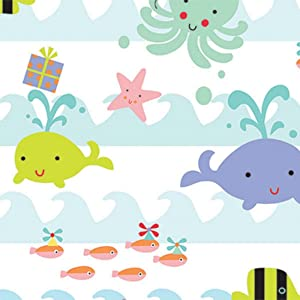 "Ocean Sea Babies Birthday Baby Rolled Gift Wrap Paper - 24"" x 15'"