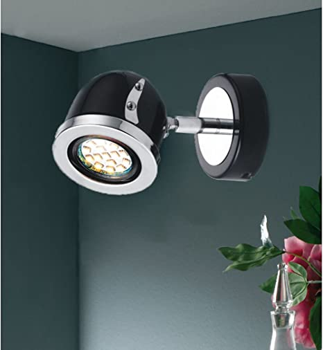 MStar Modern 3W LED Single Adjustable Metal Ceiling/Wall Spotlight In  Shinny Black Chrome Finish