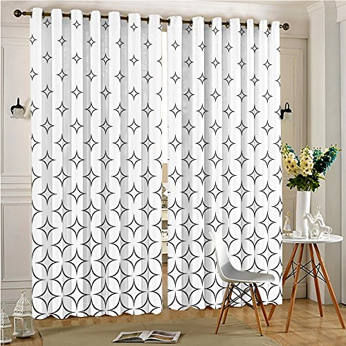 Cheap  Analisahome Outdoor Curtain Panel for Patio Curvy Star Patterns Classic Design Monochrome..