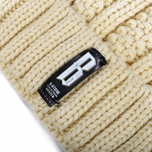 ADUO Thick Pom Beanie Hat, Women's Winter Fleece Lined Cable Knitted Pom Beanie Hat (Beige)