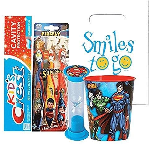 Superman 6pc. Bright Smile Oral Hygiene Bundle! 3pk Soft Manual Toothbrush, Toothpaste, Brushing Timer & Mouthwash Rinse Cup! Plus Dental Gift Bag & Tooth Saver Necklace! ()