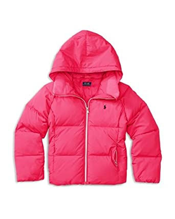 5efb94bba Amazon.com: Ralph Lauren Childrenswear Girls' Hooded Puffer Jacket Large:  Clothing
