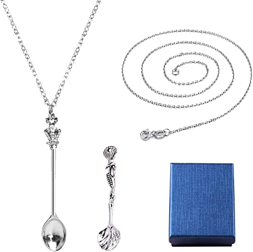 Adjustable Mini Tea Spoon Pendant Spoon Necklace Chain Royal Silver Spoon Necklace Set Alice Snuff Ibiza Festival Sniff Necklace With Jewelry Gift Box For Women Girls UOWAN 2 PCS Spoon Necklace