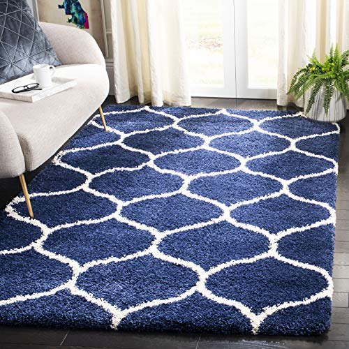 Safavieh Hudson Shag Collection SGH280C Navy and Ivory Moroccan Ogee Plush Area Rug (4' x 6') (Decor Rugs Nautical)
