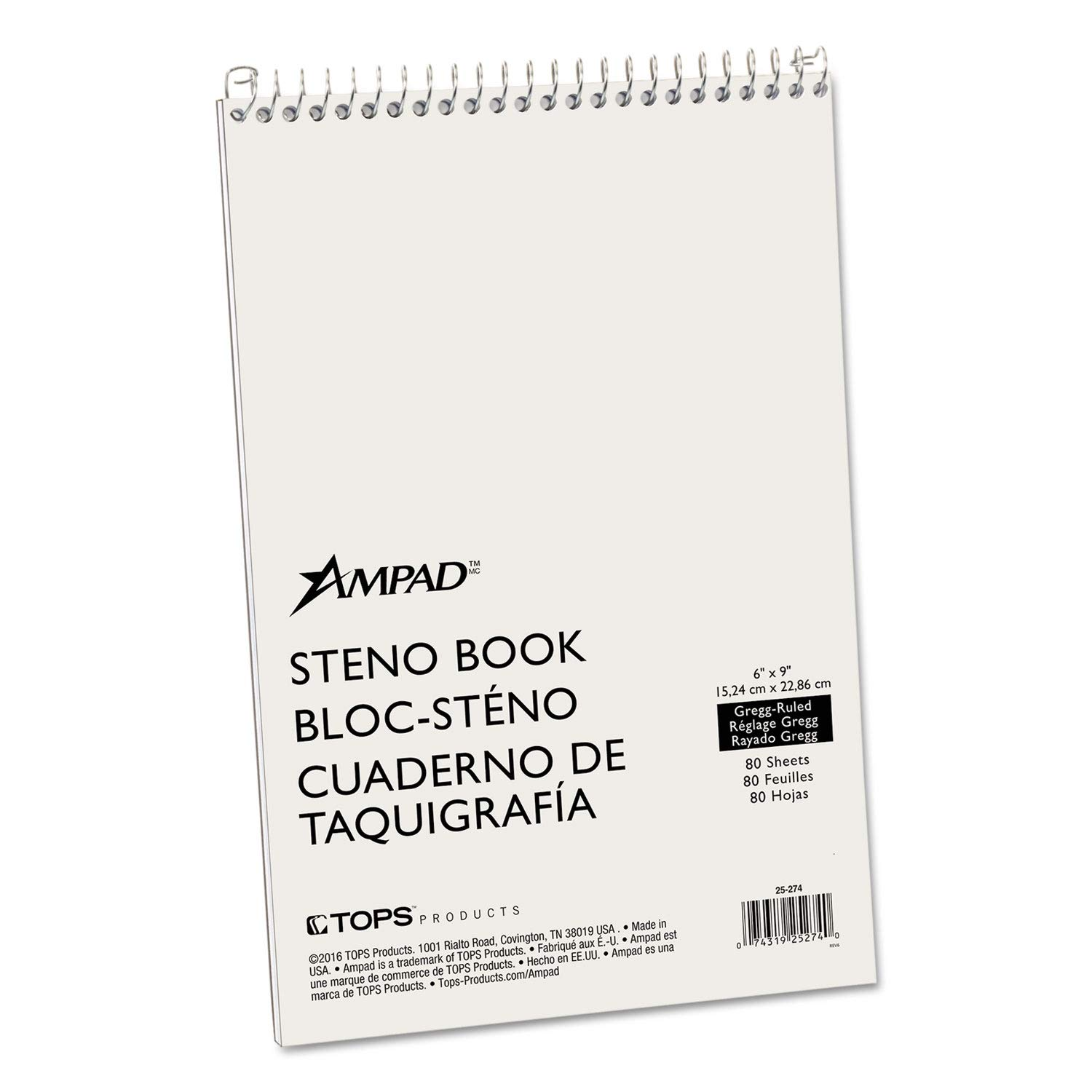 Ampad Spiral Steno Book, Gregg, 6 x 9, 15 lb, Green Tint, 80 Sheets - 25-274 (Pack of 10)