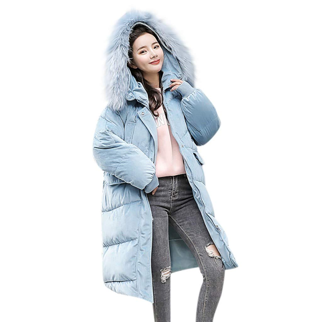 Qianful Women's Down Jackets & Parkas Front Zipper Hooded Coat Casual Long Sleeve Winter Fall Warm Overcoat Mid Length Outwear Big Pockets by Qianful