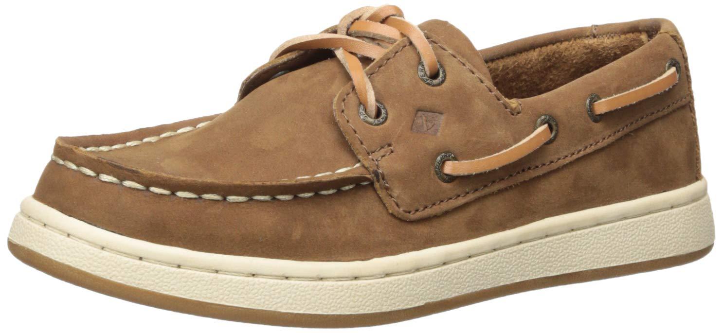 SPERRY Boys Cup II Boat Shoe, Brown, 050 Medium US Big Kid