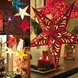 Paper Star Lantern (Pack of 5) 3D Pentagram Lampshade for Christmas Xmas Party , Lamp shades , star lamp , Laser Paper Pentacle , Birthday Home Hanging Decorations (Random Color) (12 in)