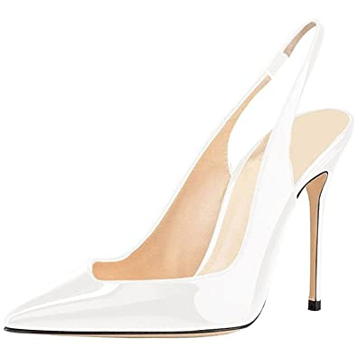 e80b8d67cc9 Image Unavailable. Image not available for. Color  Gome-z Sexy Pointy Toe Stiletto  High Heels Patent Ankle Strap Wedding Shoes Slingback Heeled