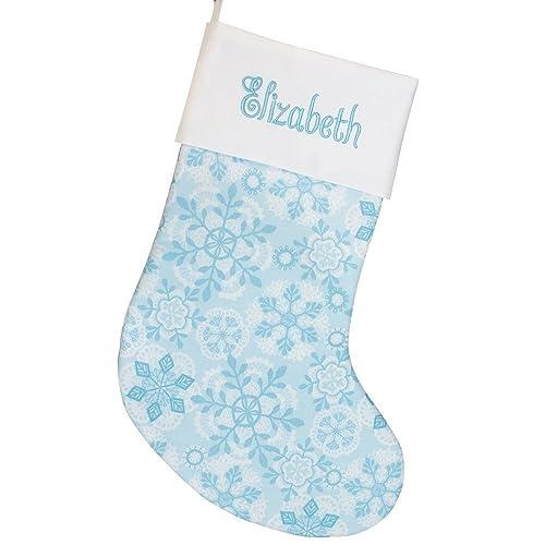 285d48ba215f87 Amazon.com: Blue Snowflakes Christmas Stocking | Handmade ...