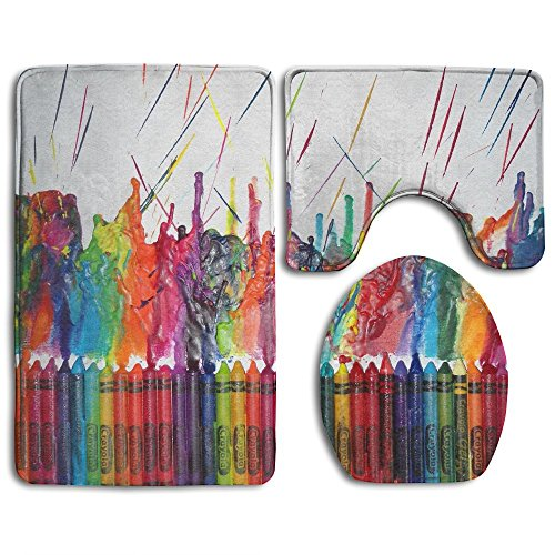 Crayons Rug - Oswald Carnegie Painting Crayon Art Bathroom Rug Mats Set 3 Piece, Rugs Graphic Bathroom Sets,Anti-skid Toilet Mat Set
