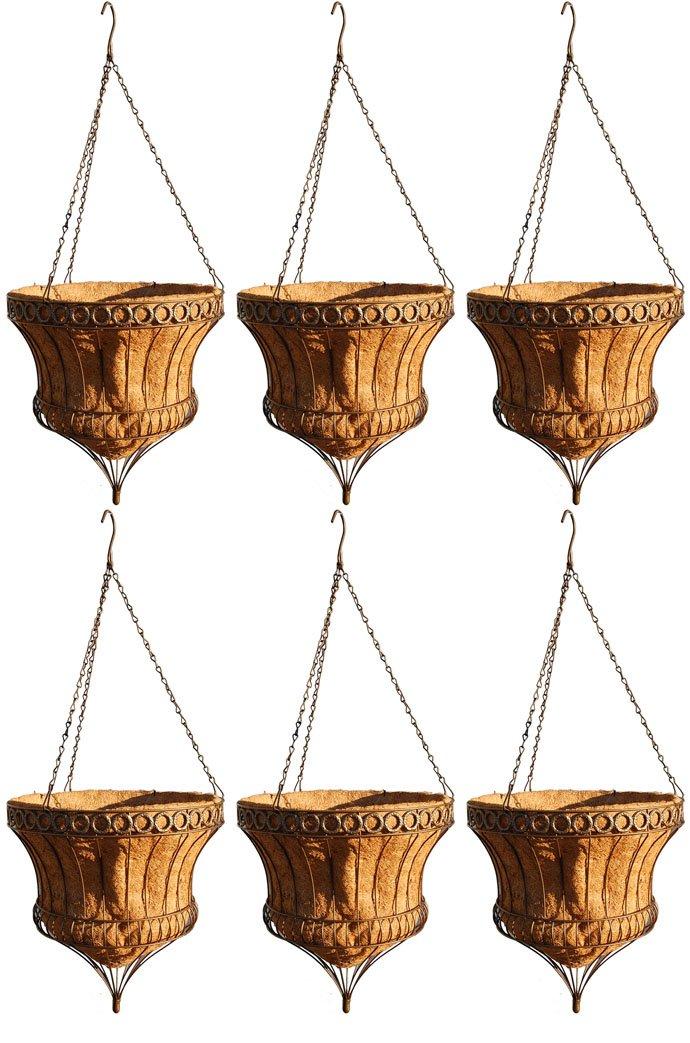 Queen Elizabeth Parasol Hanging Baskets - Rustic Brown 16 Inch Diameter - Case of 6 by Topiary Art Works