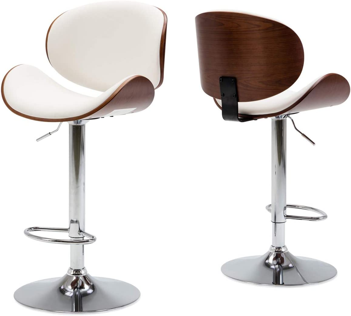 BELLEZE Set of 2 Contemporary Upholstered Faux Leather Mid-Century Walnut Bar Stool Chrome Base Adjustable Swivel Barstool, White