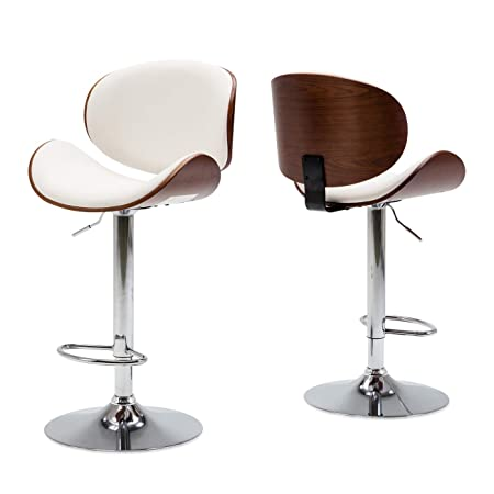 Belleze Set of 2 Contemporary Upholstered Faux Leather Mid-Century Walnut Bar Stool Chrome Base Adjustable Swivel Barstool, White