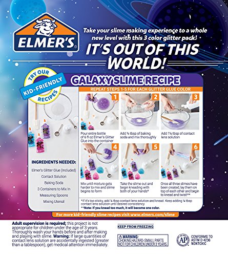 Elmer's Galaxy Slime Starter Kit with Purple, Pink & Blue Glitter Glue, 6 Ounces Each, 3 Count Photo #13