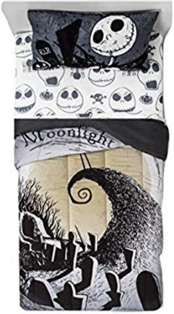 The Nightmare Before Christmas 4 Piece Bedding Set Comforter and Sheets(Twin Size)