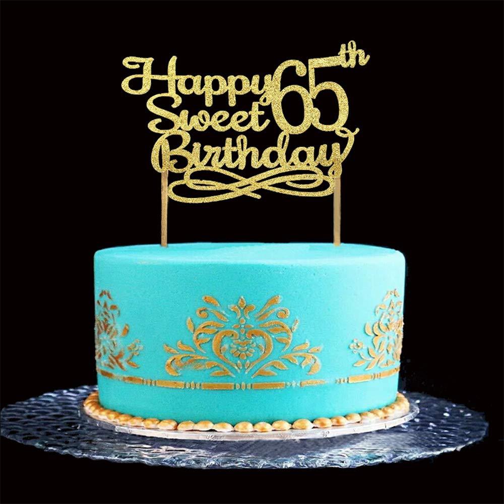 Phenomenal Gold Happy Sweet 65Th Birthday Cake Topper Gold Paper Cake Topper Funny Birthday Cards Online Benoljebrpdamsfinfo