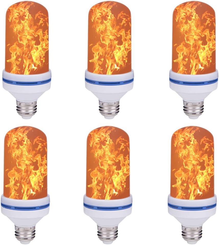 2 Pack Flame Bulb,LED Flame Effect Fire Light Bulbs,4 Modes,E26 Standard Base,108pcs LED Flame Light,Atmosphere Lighting