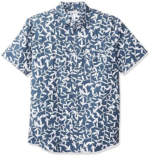 Amazon Essentials Men's Regular-Fit Short-Sleeve Print Linen Blend Shirt, Navy Leaf, X-Large ()