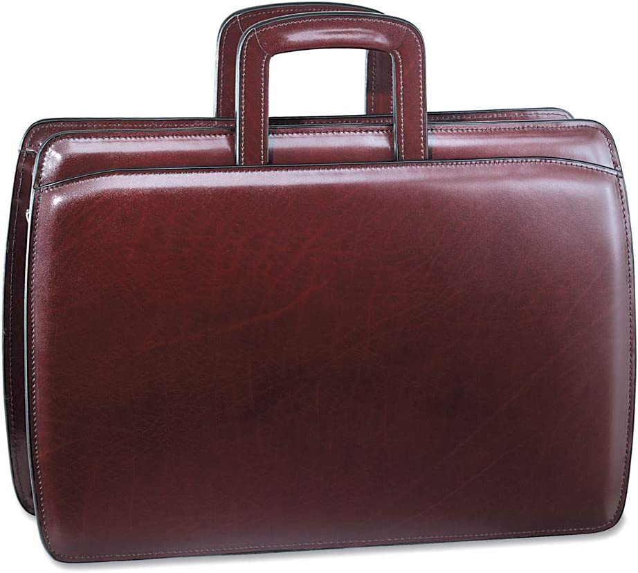 Jack Georges Mens Personalized Initials Embossing Elements Slim Leather Briefcase in Burgundy