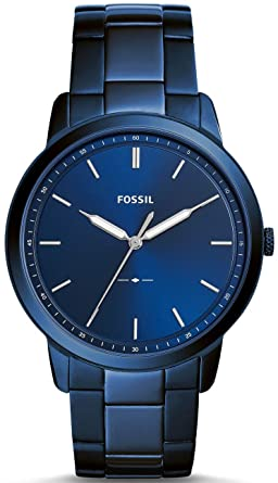 Fossil Mens The The Minimalist 3H Quartz Stainless-Steel-Plated Strap, Blue,