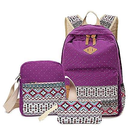 00ba1c696bab Amazon.com: TechCode Shoulder Bag, Casual Backpack 3 Pieces School ...