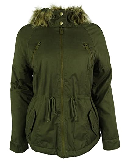 1803570c55d American Rag Women's Detachable Faux-Fur Trim Hooded Parka (S, Dusty ...