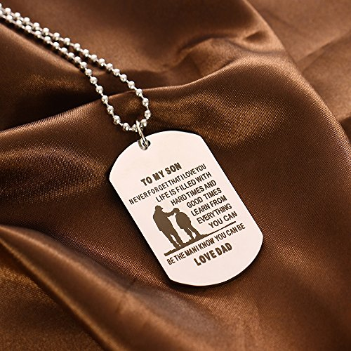 Photo Dog Tag Necklace Father Son Pendant Necklace Metal Military Father To Son Birthday Gift